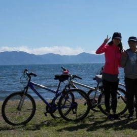 レンタルバイクで猪苗代湖一周